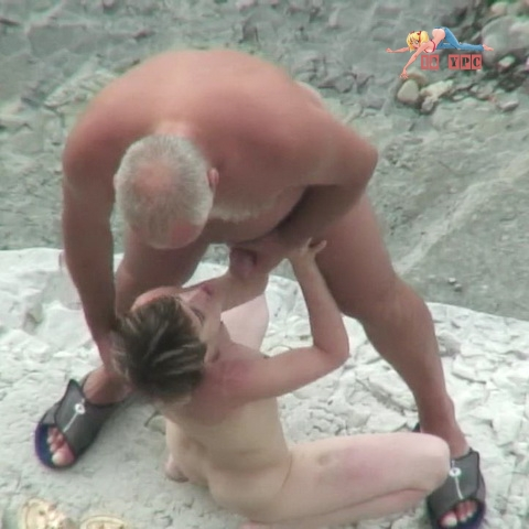 Old man fucks young girl hard on a rocky beach (0013) voyeur